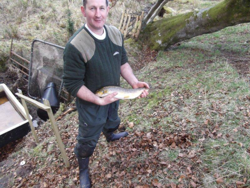 Wullie Weir our Chairman with one of the better Trout ready to be stocked into the Avon